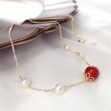 14K镀金红石榴石淡水珍珠项链女 气质时尚简约百搭锁骨链首饰品潮