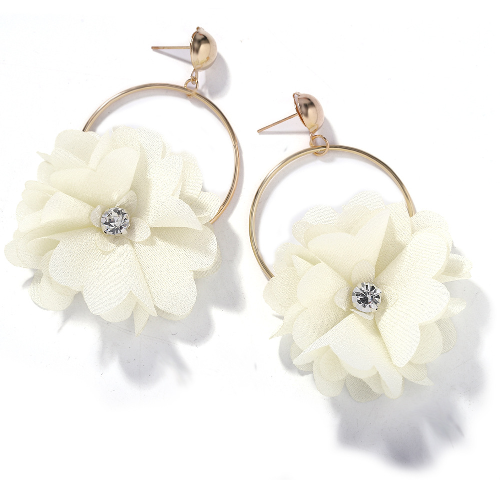 Fashion wild flower diamond earrings female new fresh sweet fabric earrings NHJQ198163
