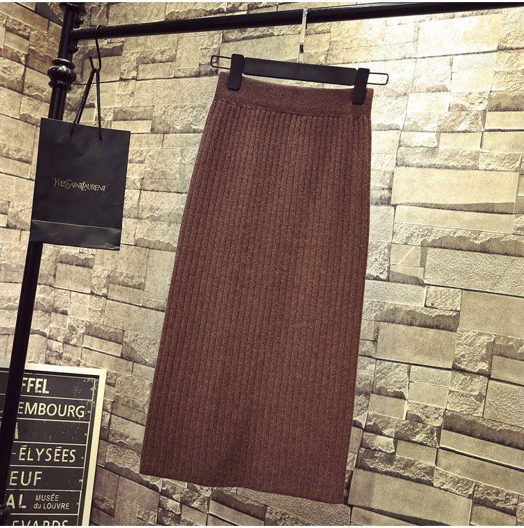 D a free-fork - خطوة واحدة تنورة طويلة تنورة صوفية عالية الخصر منتصف طول حقيبة محبوك تنورة الورك تنورة