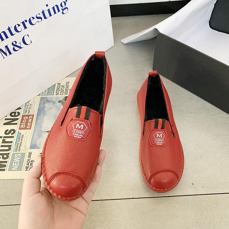 2020圆头低帮红色注塑鞋现货日常平跟纯色坡跟超纤休闲单鞋