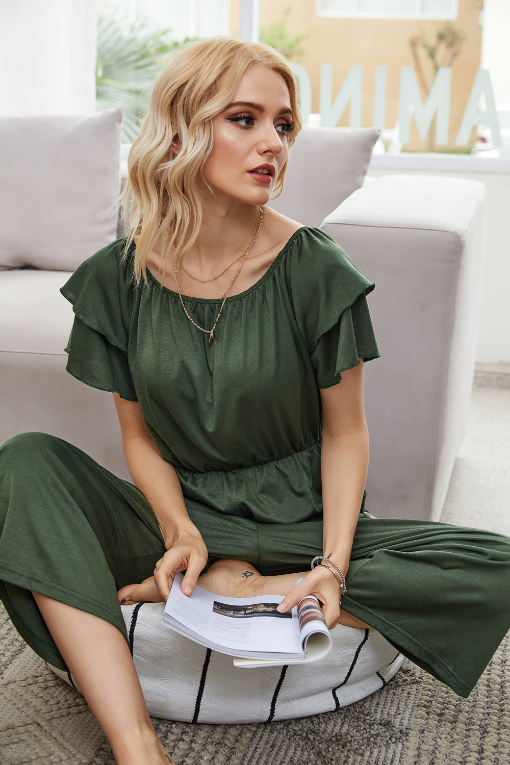 wrapped chest word ruffled army green casual home jumpsuit NSDF1534