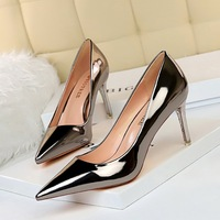 9511-a7 European and American fashion sexy metal heel high heel shallow mouth pointed nightclub show thin high heel shoes women's single shoes