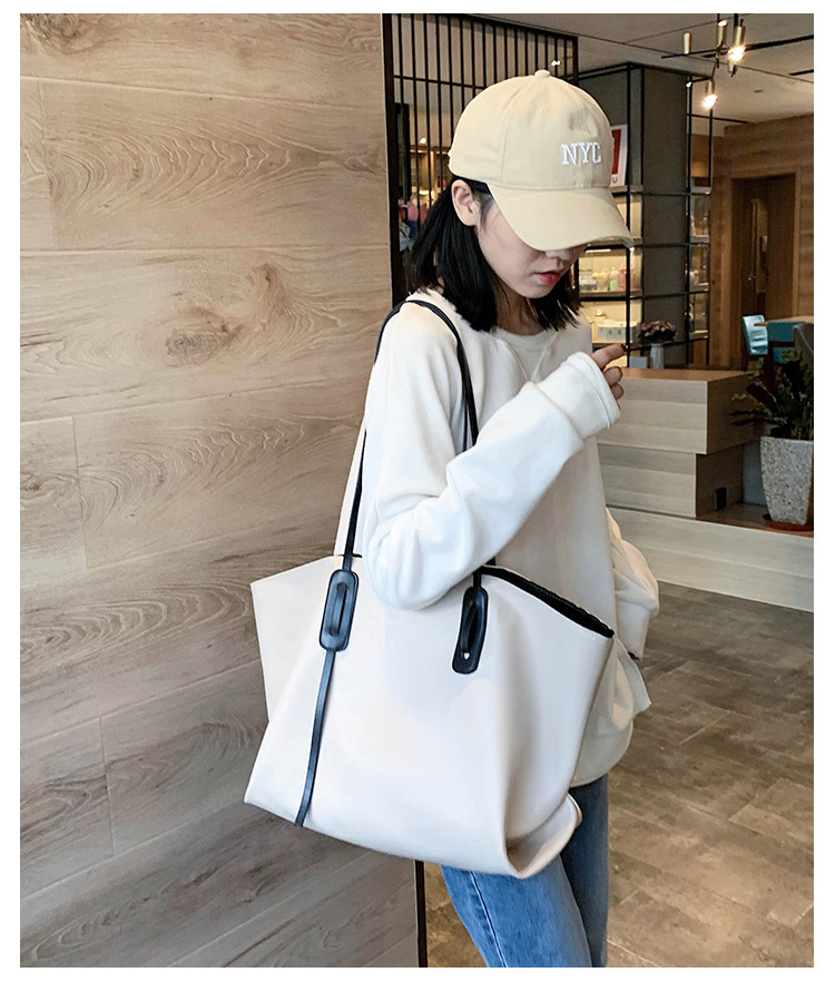 Softfaced oneshoulder womens new autumn tide Korean largecapacity simple fashion tote handbag  NHTC267602