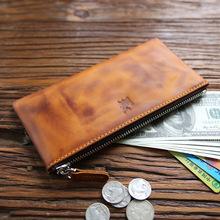 3件起批 头层牛皮男士长款钱包 真皮大容量手机包 零钱包压花