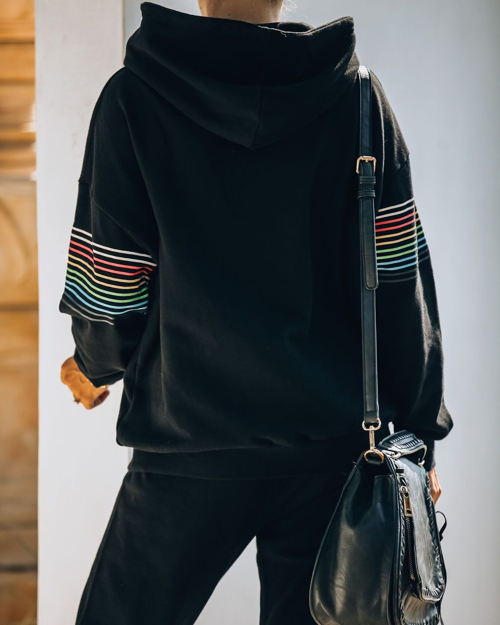 hot sale autumn and winter hot style casual color stripe stitching hooded sweater suit  NSYD3707