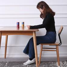 德納斯櫻桃木餐桌北歐實木風格飯桌日式原木小戶型餐桌椅組合