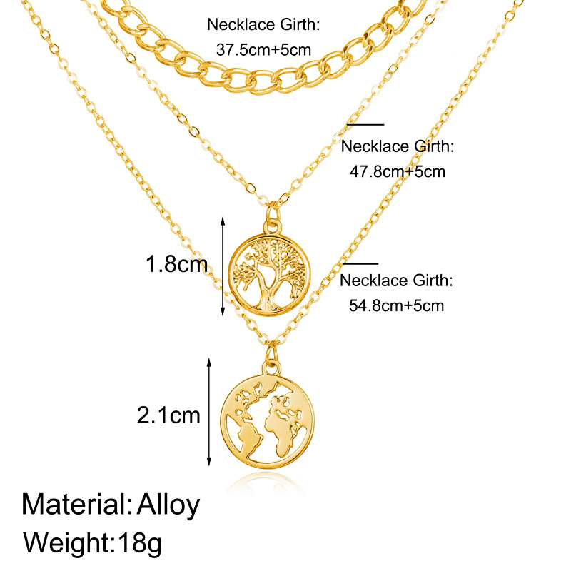 hot sale life tree map pendant multilayer necklace creative retro simple alloy clavicle chain wholesale nihaojewelry NHYI225581