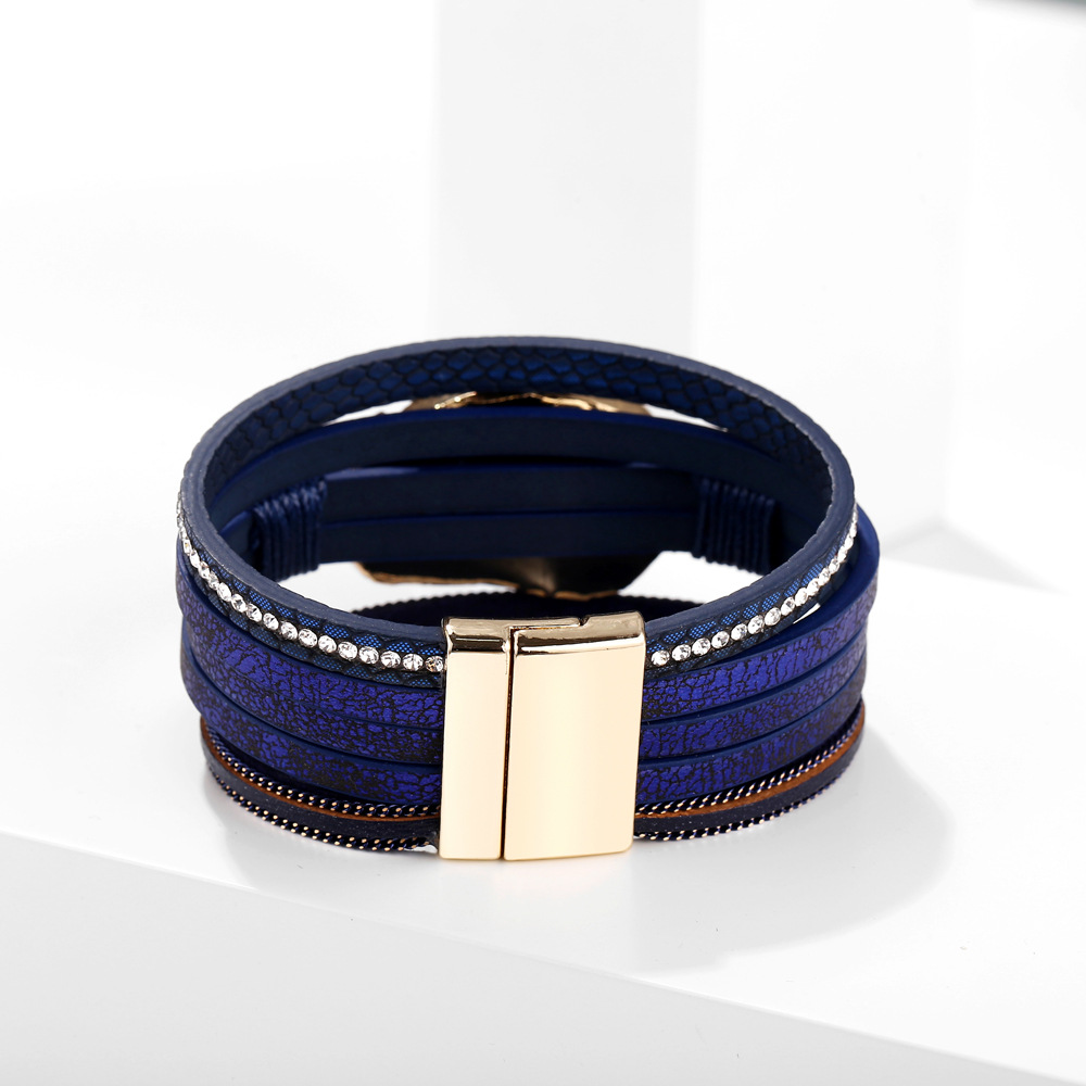 Dark blue clustered multi-layer leather bracelet new creative retro hidden blue magnetic buckle bracelet NHPJ206696