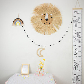 Nordic hand woven cartoon lion tiger straw house wall decoration children's room children's shop props