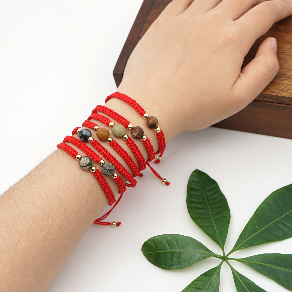 Fashion Pink Natural Stone Round Hand-woven Adjustable Bracelet