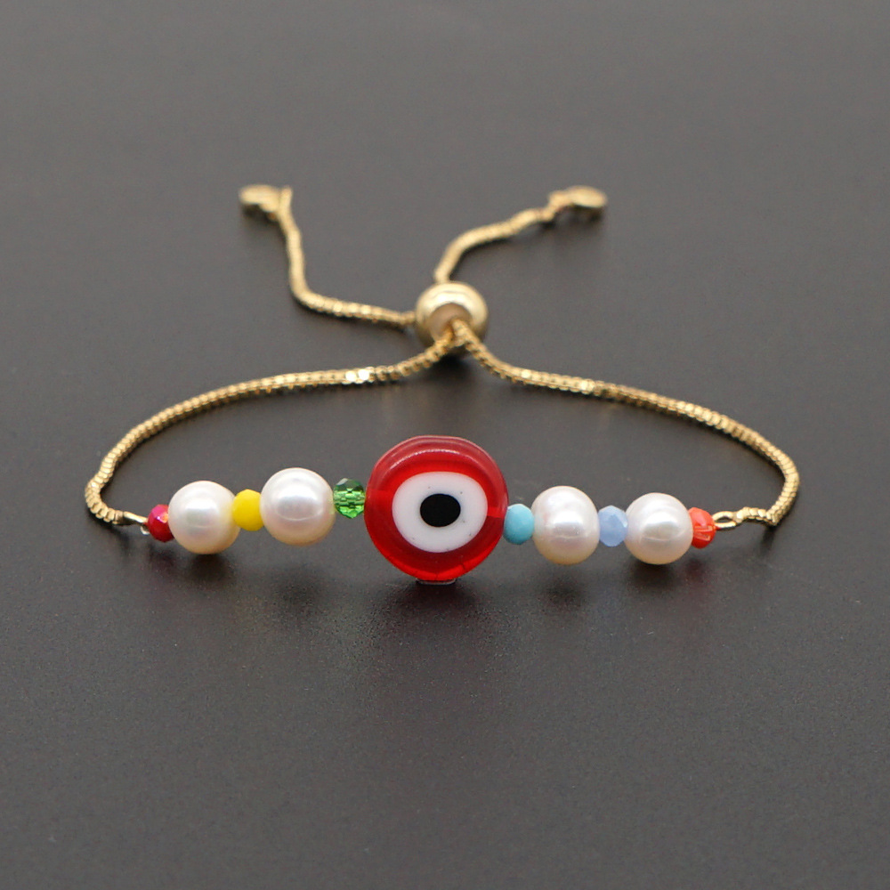 summer bracelet female simple natural freshwater baroque pearl glazed evil eyeball ethnic wind protection color box chain wholesale NHGW217260