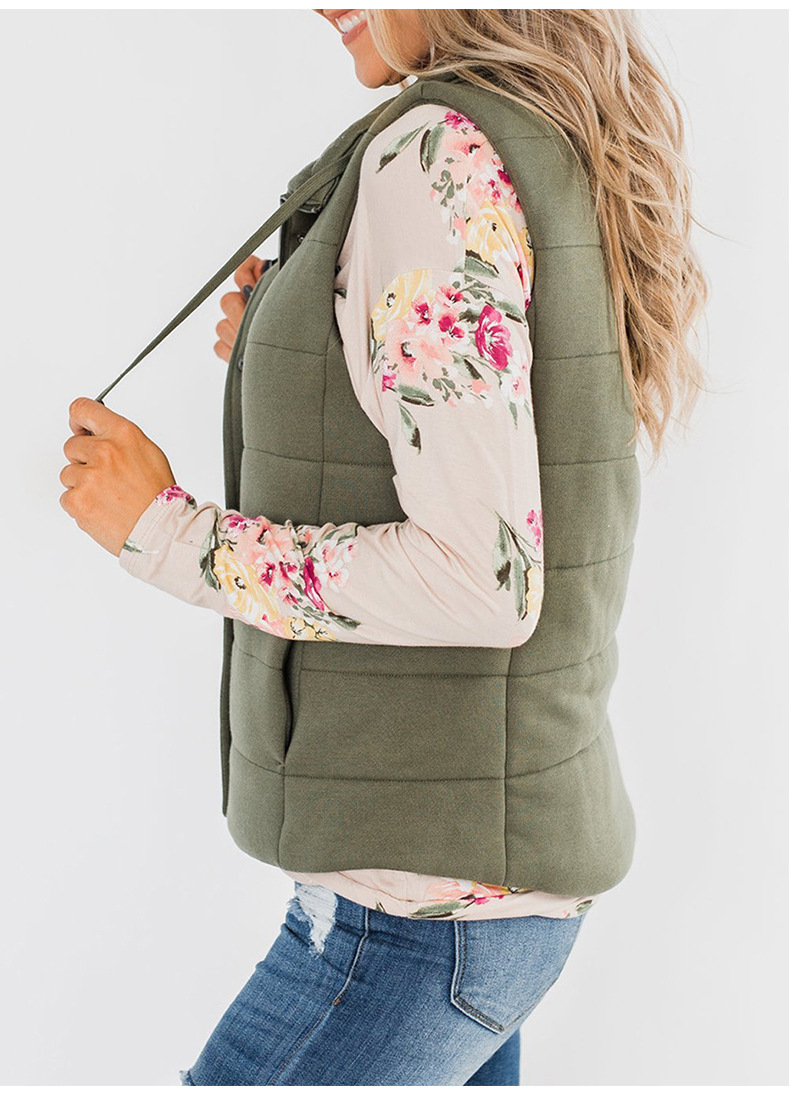 autumn and winter new vest women solid color stand-up collar lanyard sleeveless zipper ladies jacket  NSSI2744