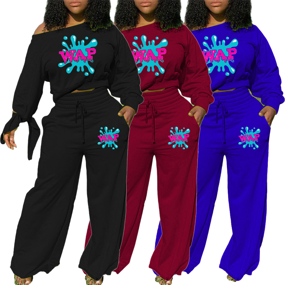 European And American Women'S Casual Solid Color Printing Long Sleeve Knotting Wide Leg Pants Two Piece Set