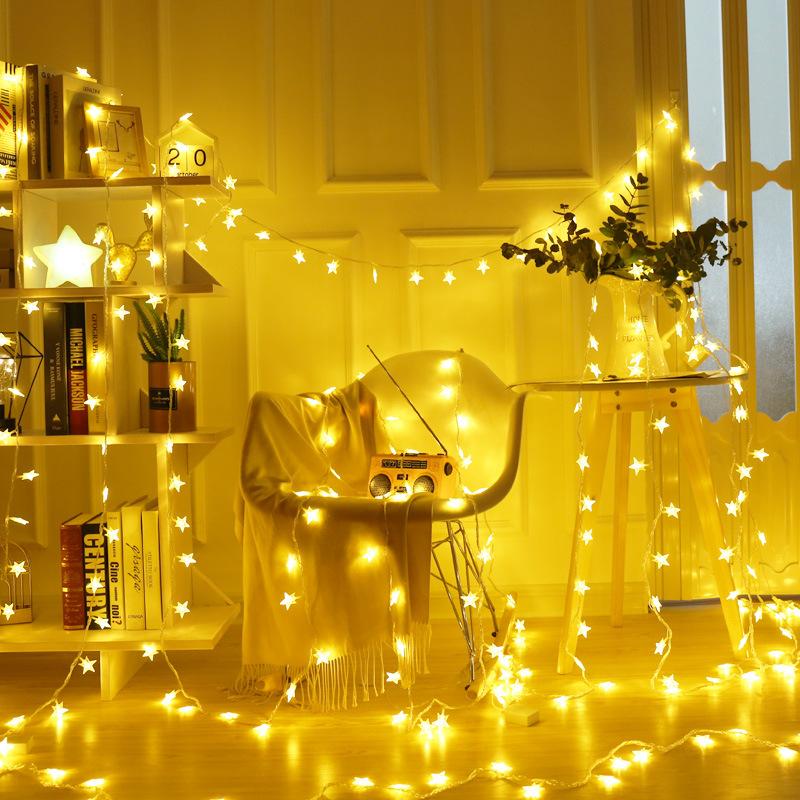 LED小彩灯灯串星星满天星闪灯串生日房间装饰灯圣诞霓虹小彩灯串