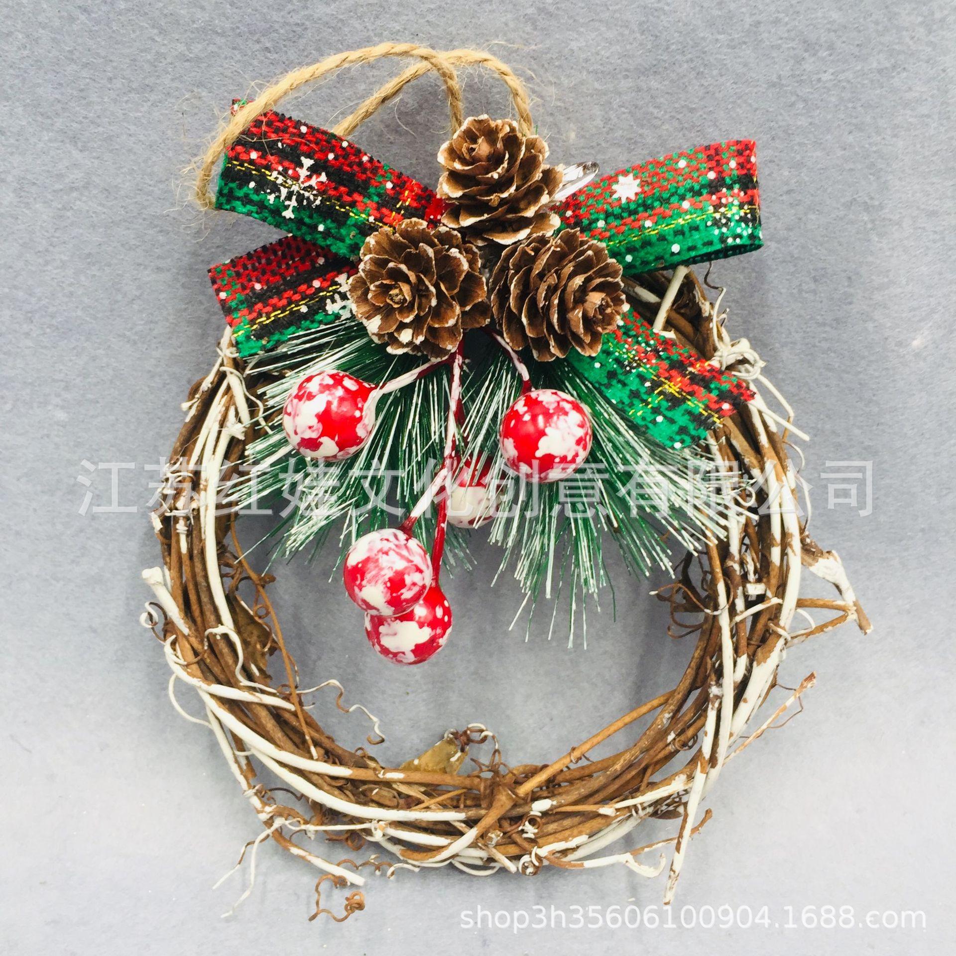 圣诞节天然藤圈花环红果松针装饰 圣诞门挂件摆件