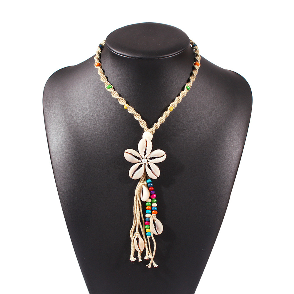 New Fashion Summer Ocean Wind Shell Necklace Hand Woven Bohemian Necklace Wholesale NHMD209214