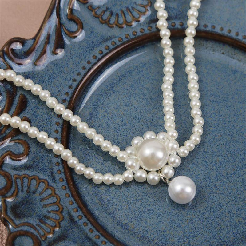 Korean  handwoven pearl flower necklace NHLA272624
