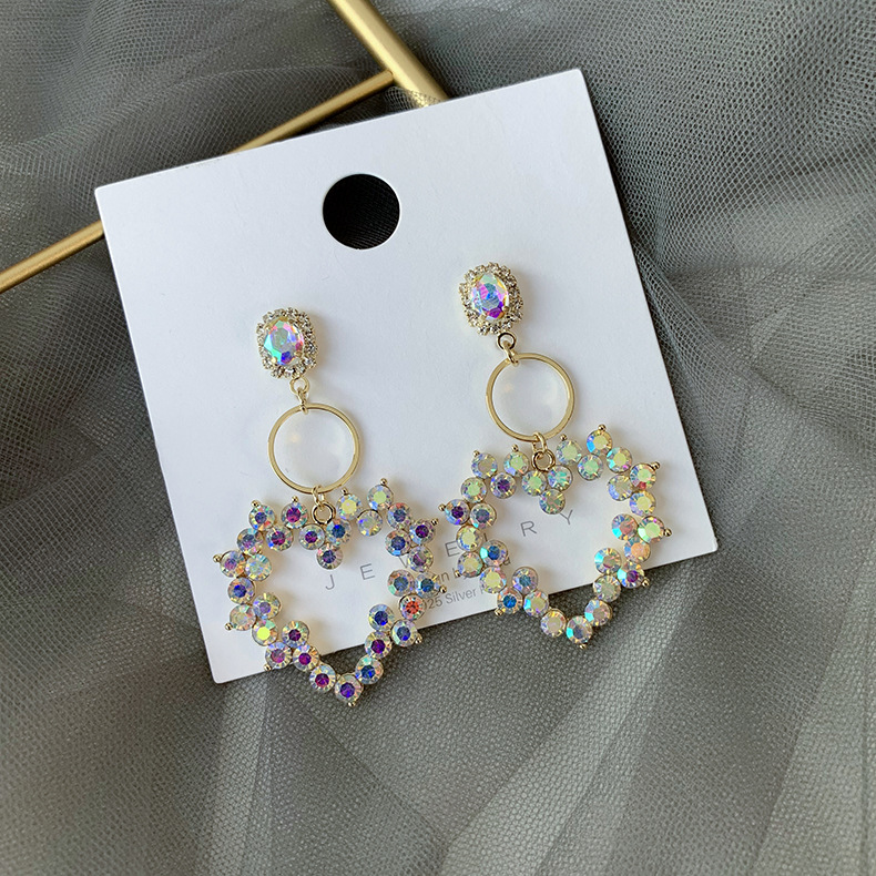 Fashion 925 Silver Needle Korean New Rhinestone Love Earrings Pop Fashion Long Exaggerated Earrings NHMS199630