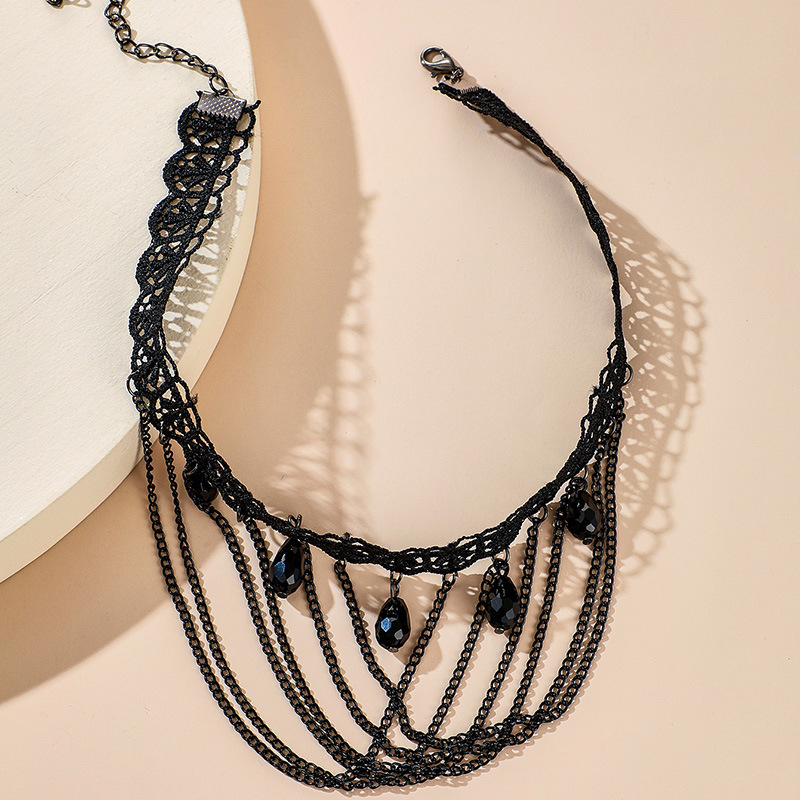 Creative new simple fashion black tassel lace necklace exaggerated punk style clavicle chain wholesale nihaojewelry  NHGY225417