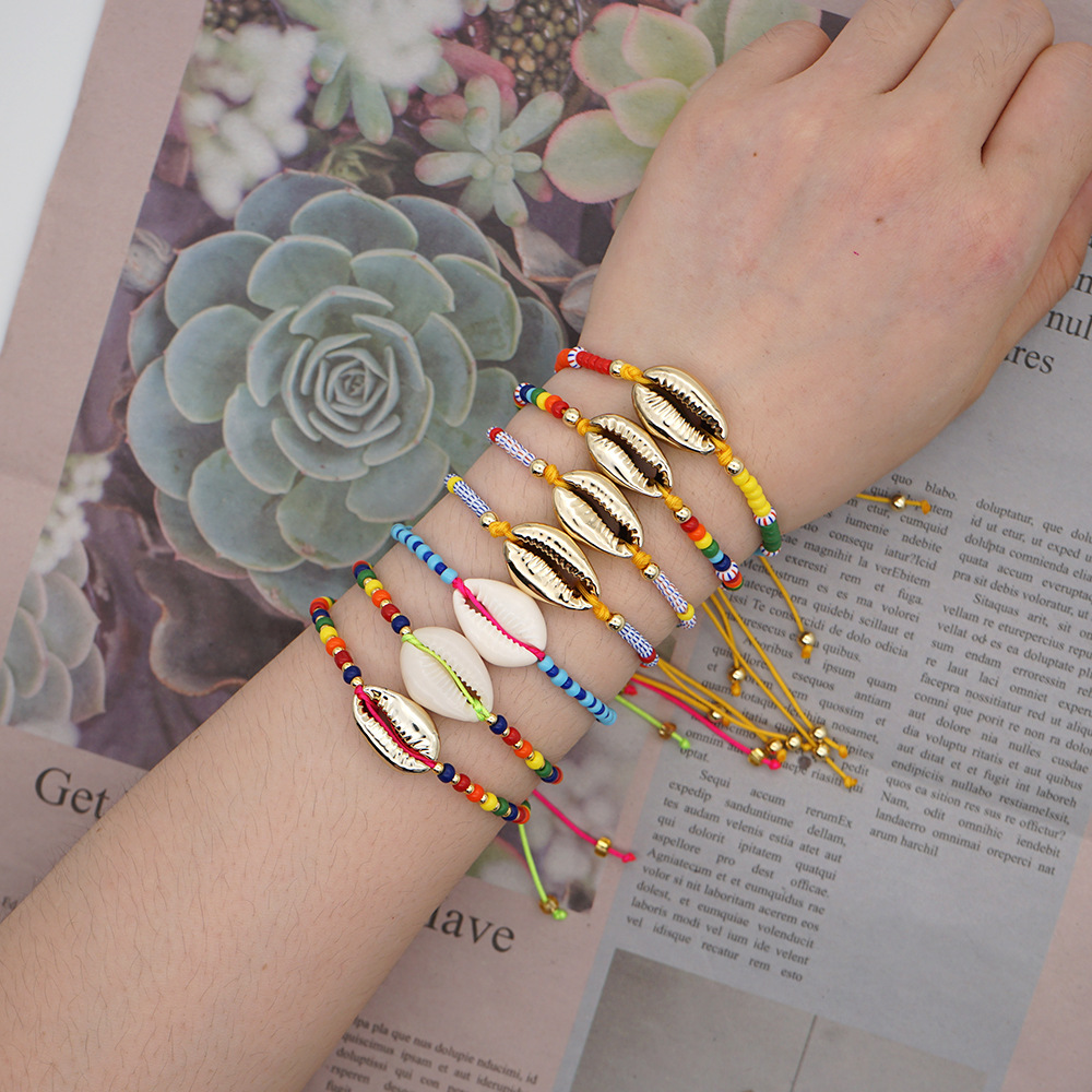 niche natural shell gold-plated hand-woven imported watermelon beads fashion bracelet for women NHGW248439