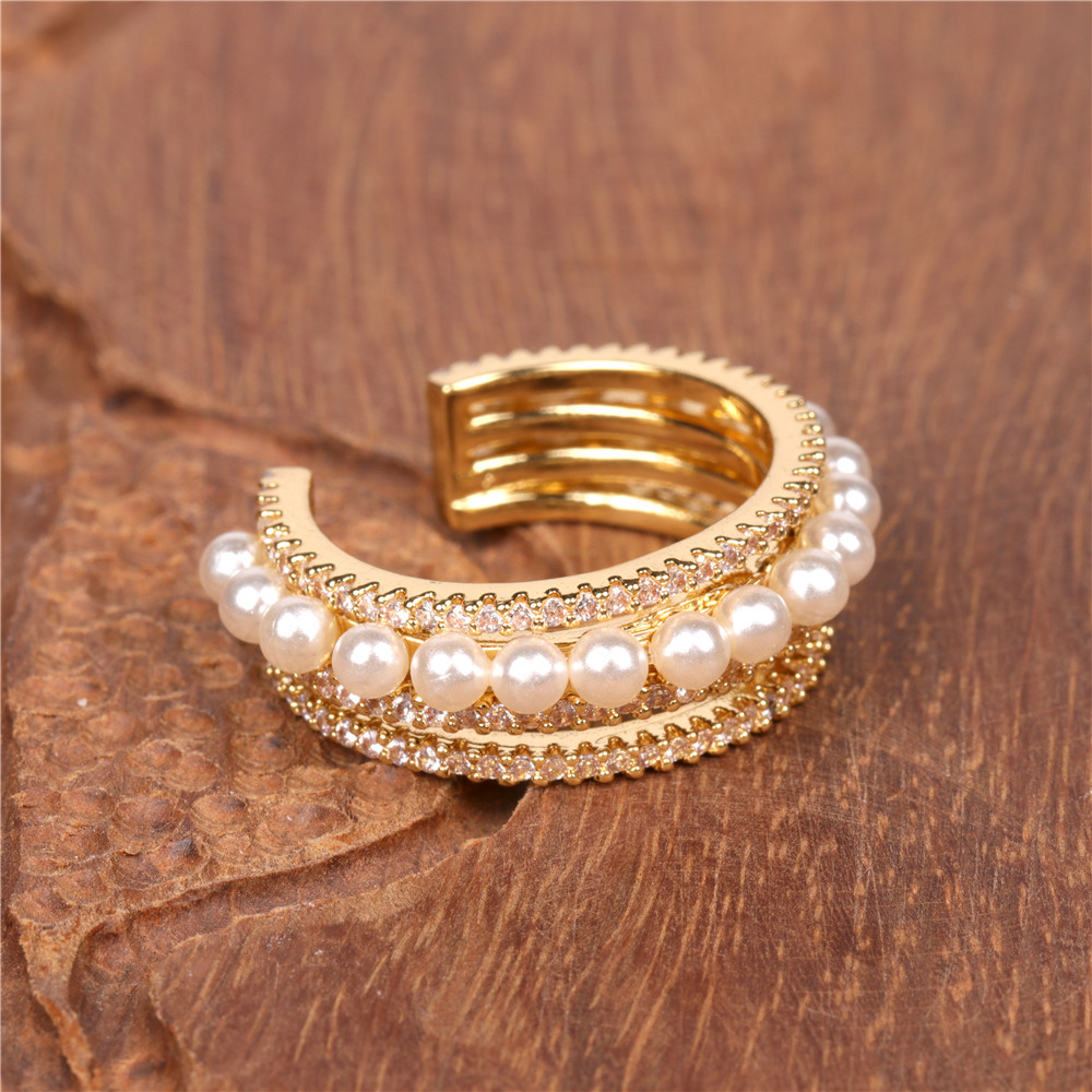 retro style diamond ring pearl ring fashion open ring wholesale nihaojewelry NHPY238538