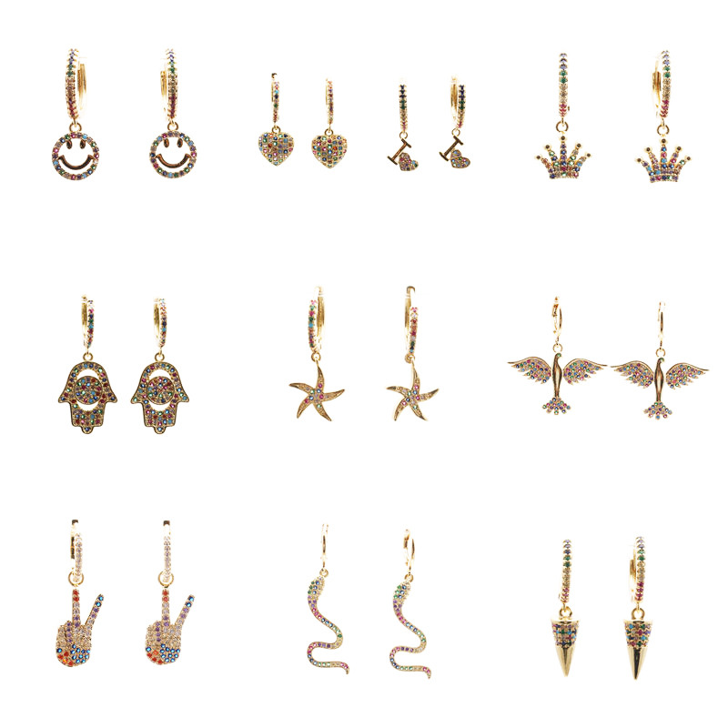 Hot selling fashion microinlaid zircon butterfly turtle snake animal earrings  NHYL259171