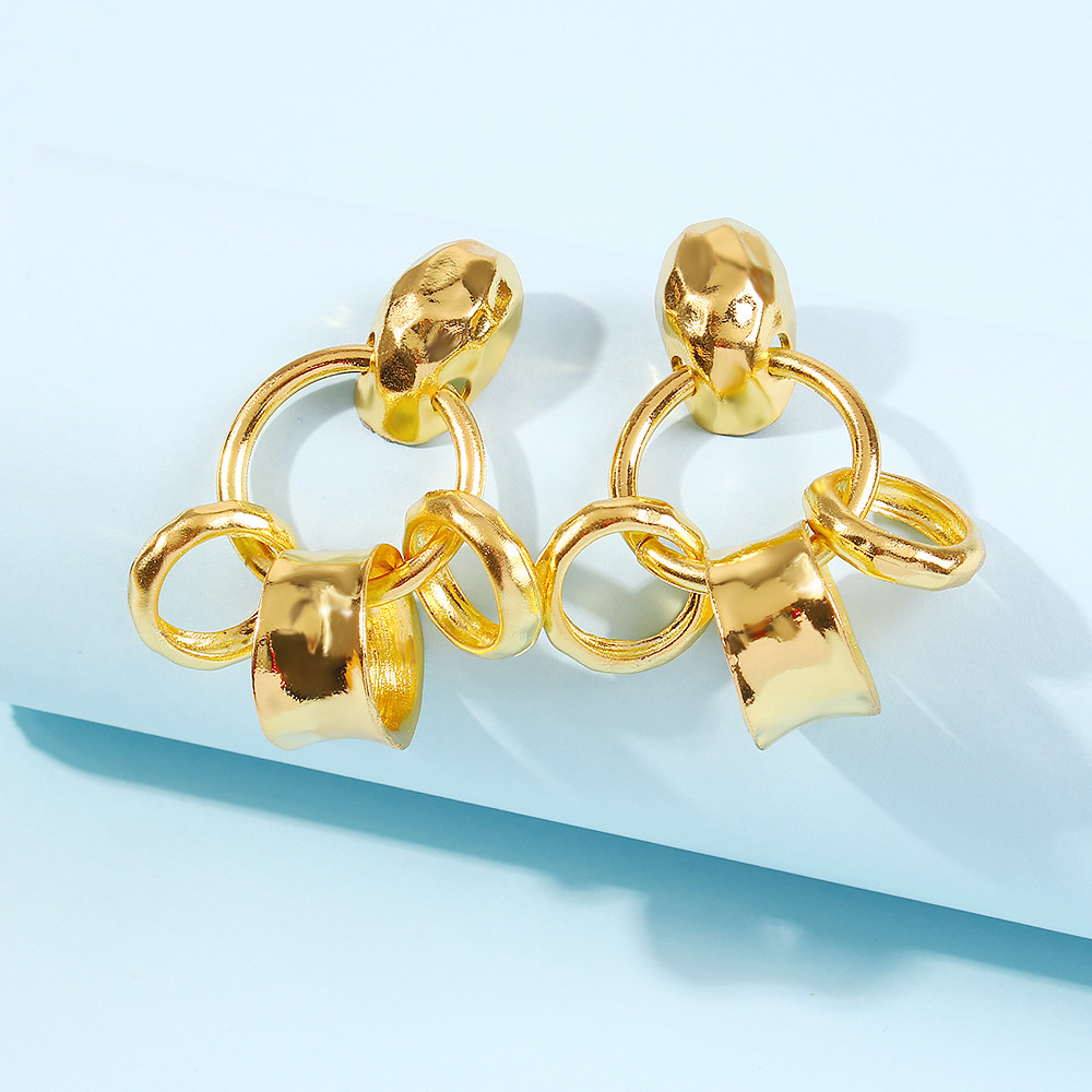 fashion new  simple cold style  geometric alloy texture earrings nihaojewelry wholesale NHMD216140