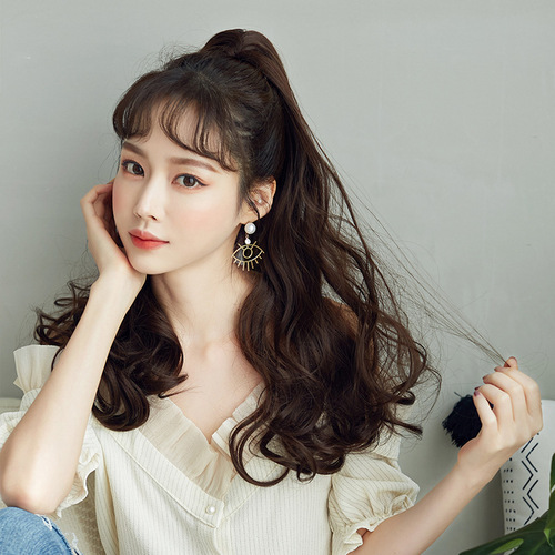 Wavy Hair Wigs High ponytail wig female long curly hair wool curly long natural perm curly hair dyed ponytail