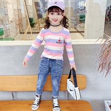 儿童T恤2020秋季新款 韩版中大童女童纯棉上衣圆领长袖打底衫代发