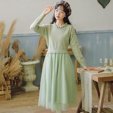 2020年新款秋冬针织连衣裙长袖收腰显瘦减龄裙子超仙女拼接网纱裙
