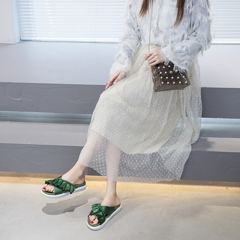 summer new Korean fashion thick bottom lace cross wearing slippers slippers explosion wholesale nihaojewelry NHYR221856