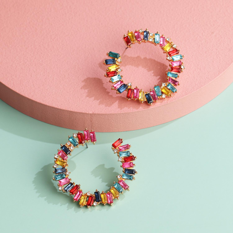 fashion exaggerated acrylic diamond geometric C-shaped full diamond earrings women retro generous temperament earring wholesale nihaojewelry NHJJ220051