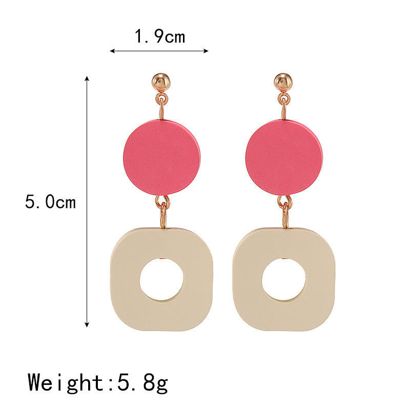 Korean new simple and stylish wood round pendant earrings NHPF203028