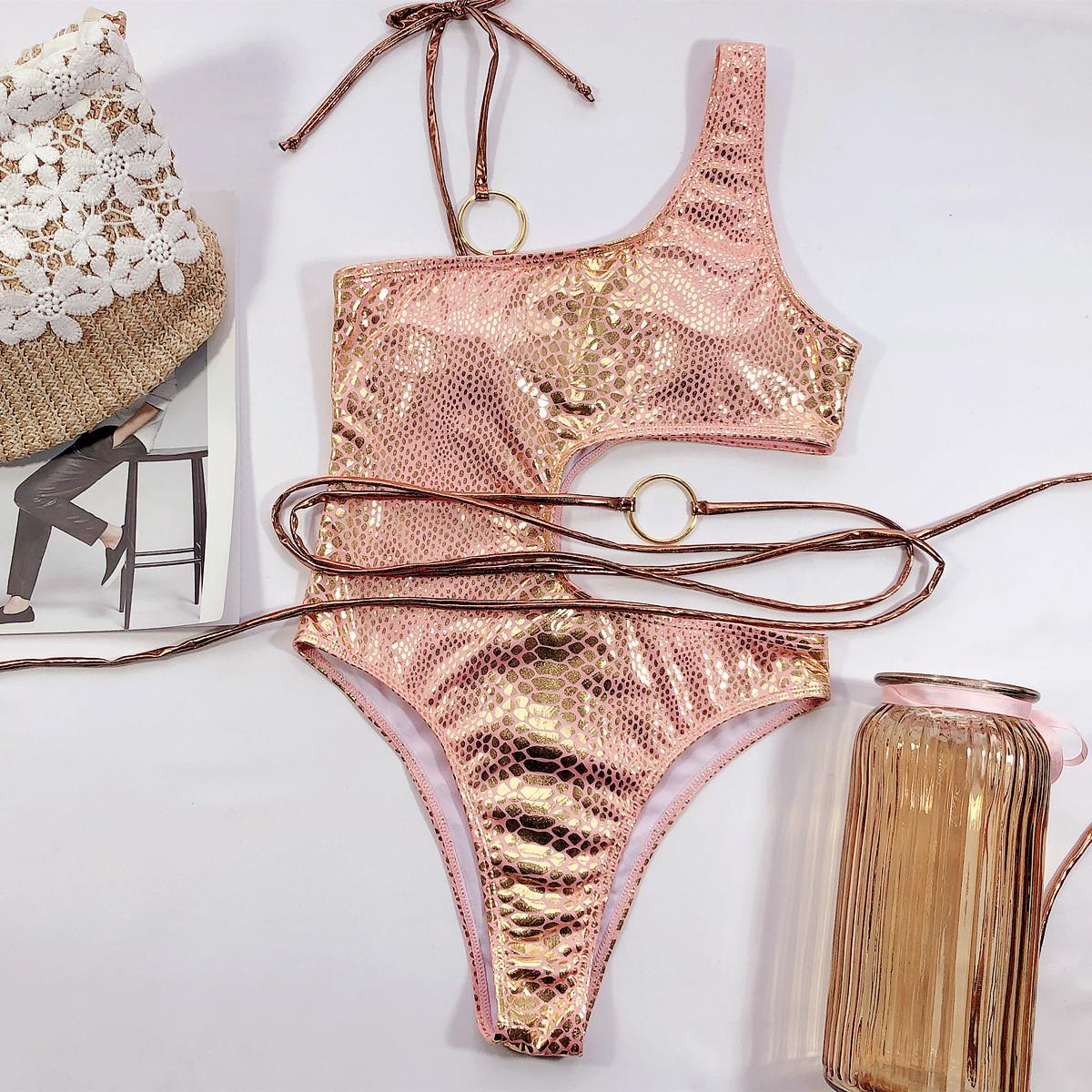 one-piece swimsuit new hollow one-shoulder bikini swimsuit snake pattern bikini  NSDA544
