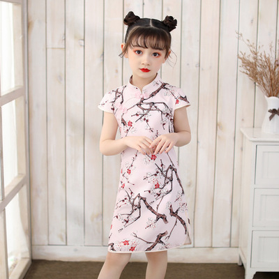 Qipao for kids Country printed cheongsam national Han Dynasty Qipao Tang Suya plum blossom girl Qipao