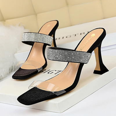 2772-1 in Europe and the sexy female cool slippers thick with high with transparent hollow out peep-toe square diamond w