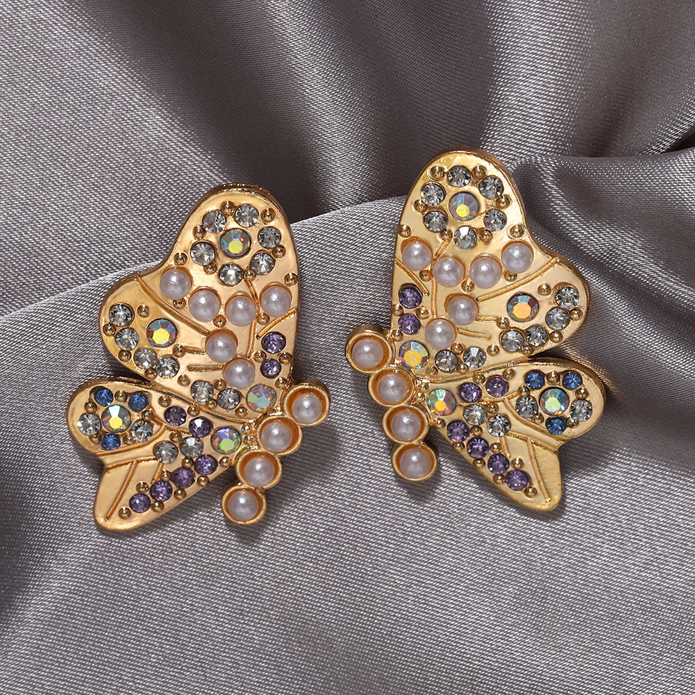 Exquisite butterfly studded pearl big stud earrings new trendy fashion earrings NHJQ202626