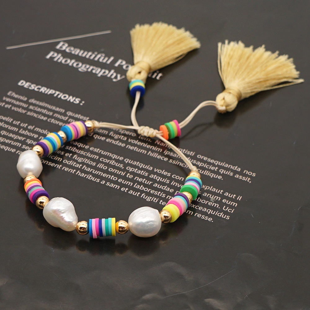 Bohemian style natural pearl rice bead woven colorful soft pottery drawstring tassel bracelet for women NHGW241887