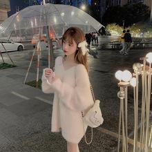 网红 白色毛衣女宽松外穿秋冬季新款毛衣裙中长款套头针织毛线衣