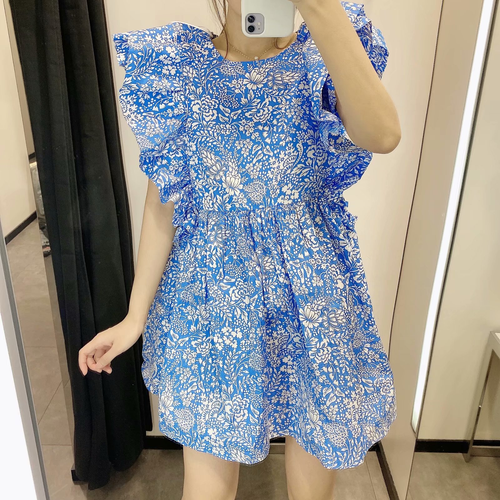 Fashion women's dress wholesale spring printed laminated sleeveless baby shirt dress NHAM200141