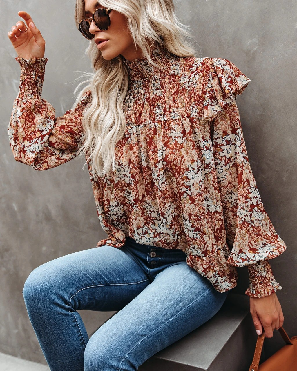 new pleated high-neck small floral print split blouse loose high-neck shirt  NSYD3815