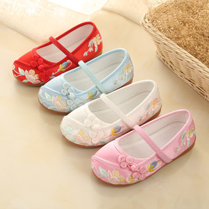 National Chinese folk dance hanfu embroidered shoes ancient children Beijing shoes girls Hanfu shoes baby dance shoes