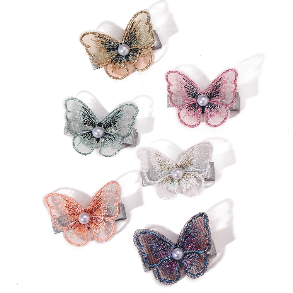 Fairy hair clip Korean pearl embroidery butterfly bangs clip mesh decorative clip girl side clip hair accessories wholesale nihaojewelry NHPJ225472