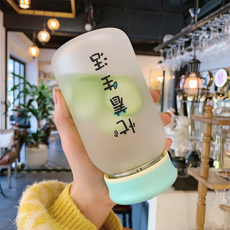 Simple Frosted Portable Handle Glass Cup NHtn328564