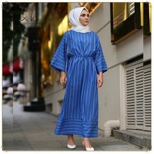 速卖通亚马逊简约甜美条纹长款喇叭袖中东迪拜大码连衣裙LR374