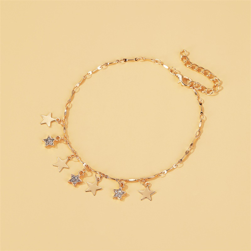 summer  new fashion beach wind star pendant anklet  wild fivepointed star tassel anklet nihaojewelry wholesale NHDP215302