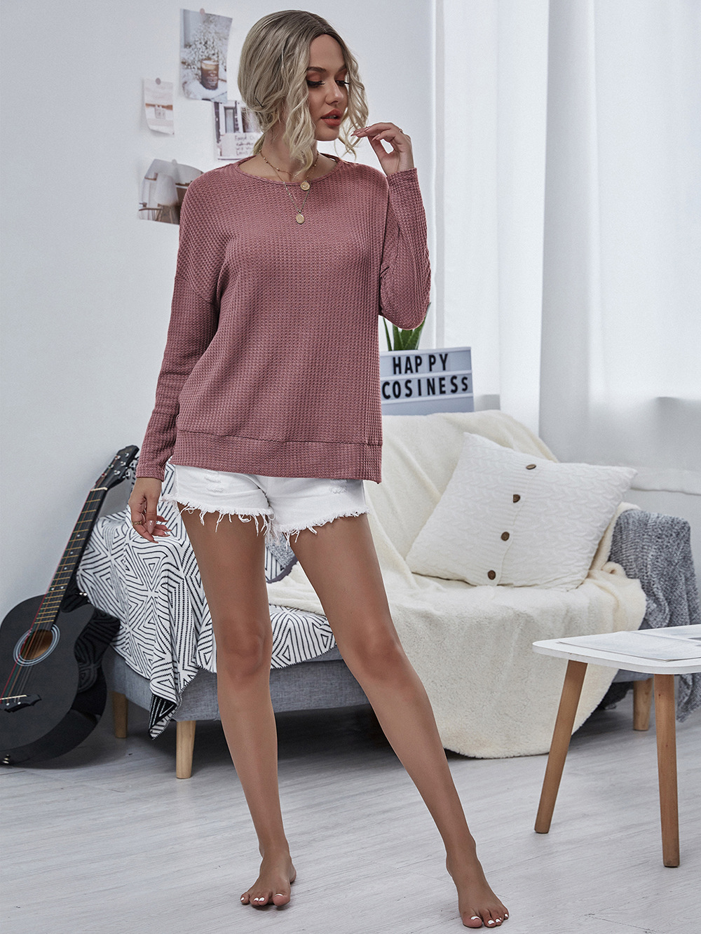 new style casual women's round neck loose back halter retro solid color long-sleeved shirt NSDF3048