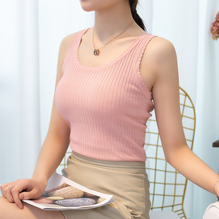 Ice silk thin V-neck knitted camisole women's outer summer dress 2021 new inner base shirt lace outer wear