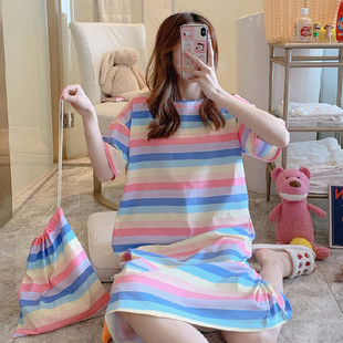 Spot net celebrity summer sweet cartoon nightdress casual and comfortable short-sleeved plus size dress with cloth bag cross-border