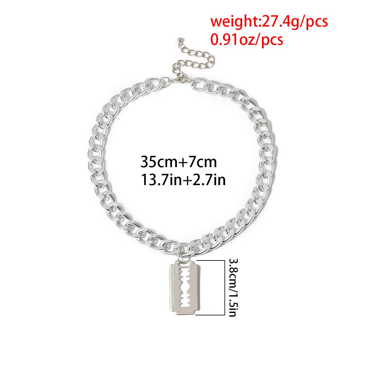 New fashion simple irregular geometric razor blade exaggerated necklace NHXR211603